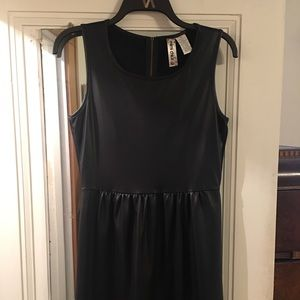 Faux leather dress with exposed zipper
